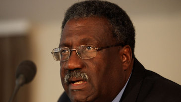 Clive Lloyd speaks at a press conference