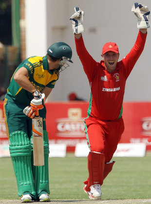 Rilee Rossouw departed for a duck, Zimbabwe v South Africa, tri-series, Harare, August 29, 2014