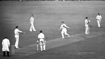 Don Bradman is caught off Alec Bedser's bowling for 38