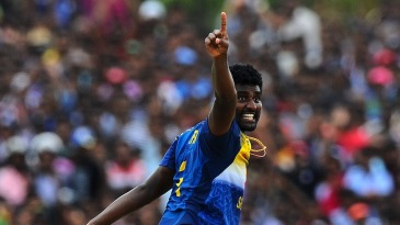 Thisara Perera celebrates one of his four wickets