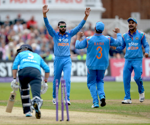 Ravindra Jadeja celebrates the stumping while Joe Root looks towards the leg umpire, England v India, 3rd ODI, Trent Bridge, August 30, 2014