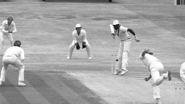 Malcolm Marshall gets his broken hand away from the ball while batting