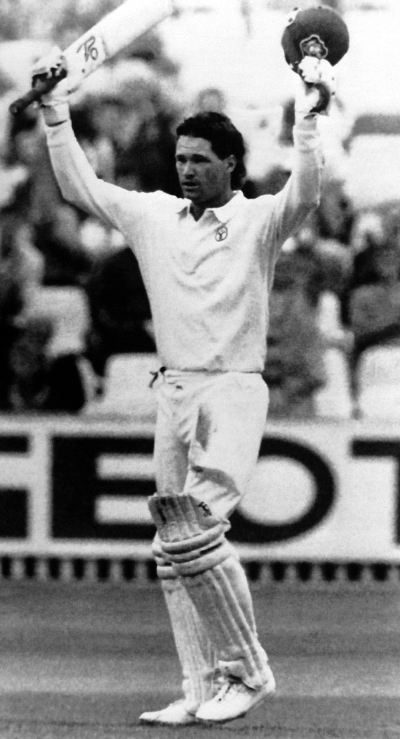 Dean Jones celebrates his century, England v Australia, 3rd Test, Edgbaston, 2nd day, July 7, 1989