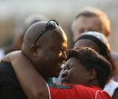 Zimbabwe coach Stephen Mangongo is congratulated by his mother, Zimbabwe v Australia, tri-series, Harare, August 31, 2014