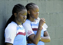 Deandra Dottin and Shaquana Quintyne take a breather during a practice session, Basseterre, September 1, 2014