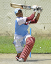 Natasha McLean plays an attacking stroke in the nets, Basseterre, September 1, 2014