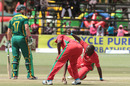 AB de Villiers fell to another bizarre run out, Zimbabwe v South Africa, tri-series, Harare, September 4, 2014