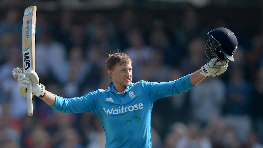 Joe Root celebrates his second ODI ton