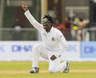 Shuvagato Hom belts out an appeal, West Indies v Bangladesh, 1st Test, St Vincent, 1st day, September 5, 2014