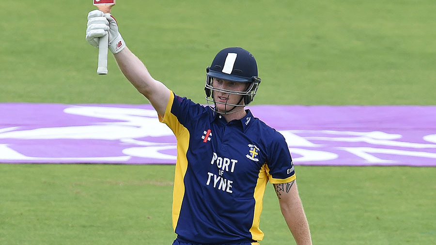 Ben Stokes celebrates his splendid century