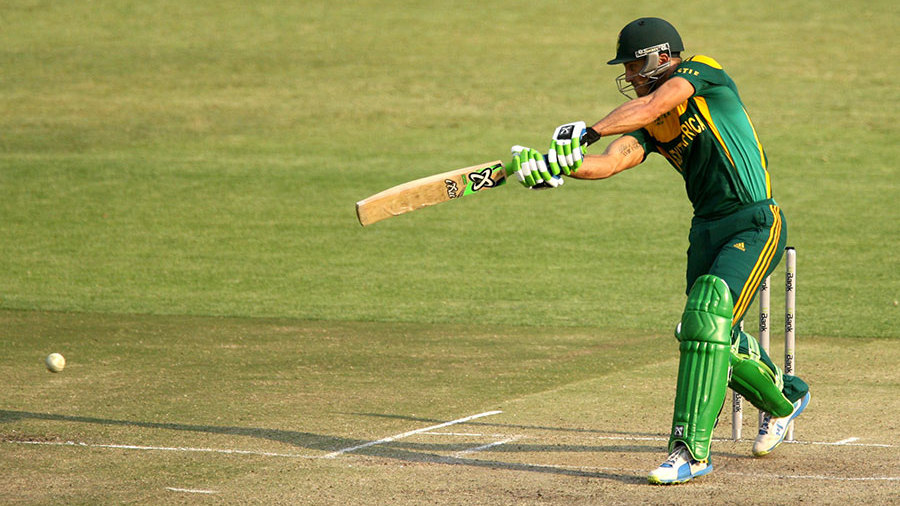 Faf du Plessis cracks the ball through the off side