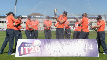 England spray the victory champagne