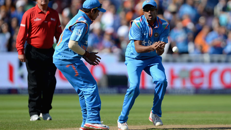 Don't stand so close to me: R Ashwin shells a catch as Karn Sharma looks on