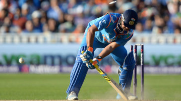 Suresh Raina was bowled by a Harry Gurney yorker