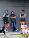 Andy Flower (centre) chats with Graham Ford and Alec Stewart, Worcestershire v Surrey, County Championship, Division Two, New Road, September 10, 2014