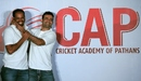 Yusuf and Irfan Pathan joke around during the launch of their cricket academy, Mumbai, September 11, 2014