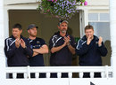Andrew Gale (second from left) had to watch the presentation from the dressing room, Nottinghamshire v Yorkshire, County Championship, Division One, Trent Bridge, September 12, 2014