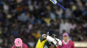 Oops.. Danushka Gunathilaka loses grip of the bat