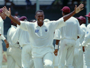 Ian Bishop celebrates a wicket, West Indies v India, 3rd Test, Bridgetown, Barbados, March 31, 1997