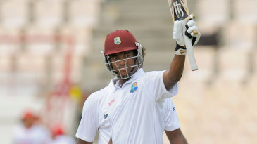 Leon Johnson acknowledges the crowd after scoring a maiden Test fifty