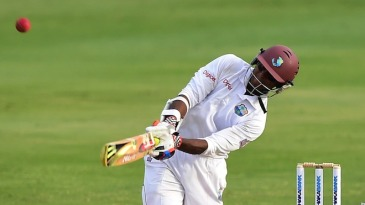 Shivnarine Chanderpaul lofts over the leg side