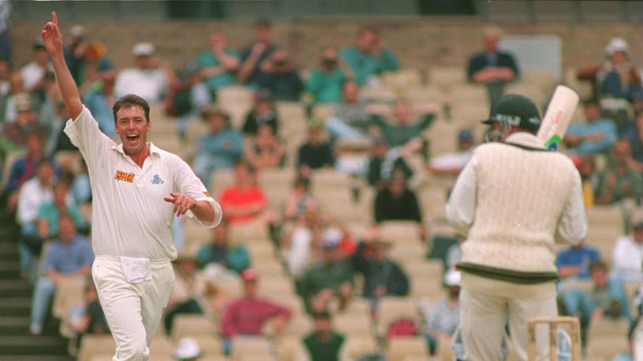 Angus Fraser celebrates a wicket