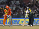 Angelo Perera comes down the ground, Southern Express v Lahore Lions, CLT20 qualifier, Raipur, September 16, 2014