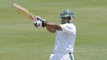 Tamim Iqbal pulls during his 181-ball 64