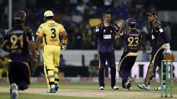 Sunil Narine conceded only nine runs in his four overs and picked up Suresh Raina