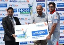 Ali Khan slammed 48 off 19 balls to win the Man of the Match cheque, Larkana Bulls v Sialkot Stallions, Haier Cup National T20, Karachi, September 18, 2014