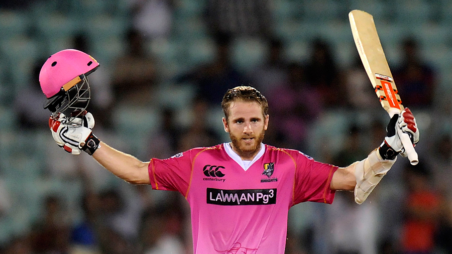 Kane Williamson celebrates his maiden T20 century