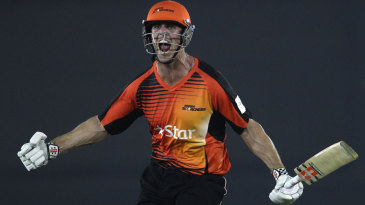 Mitchell Marsh is pumped up after hitting 12 off the final two deliveries