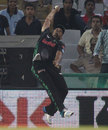Vaughn van Jaarsveld leaps to try take a catch at the boundary, Dolphins v Perth Scorchers, Champions League T20, Mohali, September 20, 2014
