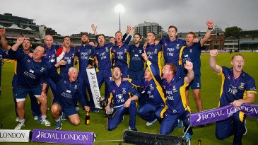 Durham sing the team song in front of their travelling supporters