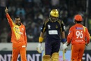 Adnan Rasool signals the end of Robin Uthappa, Kolkata Knight Riders v Lahore Lions, Champions League T20, Hyderabad, September 21, 2014