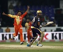 Aizaz Cheema celebrates having Manvinder Bisla caught behind, Kolkata Knight Riders v Lahore Lions, Champions League T20, Hyderabad, September 21, 2014