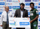 Raza Hasan was Man of the Match after claiming 3 for 16, AJK Jaguars v Islamabad Leopards, Haier Cup National Twenty20, Group C, Karachi, September 22, 2014