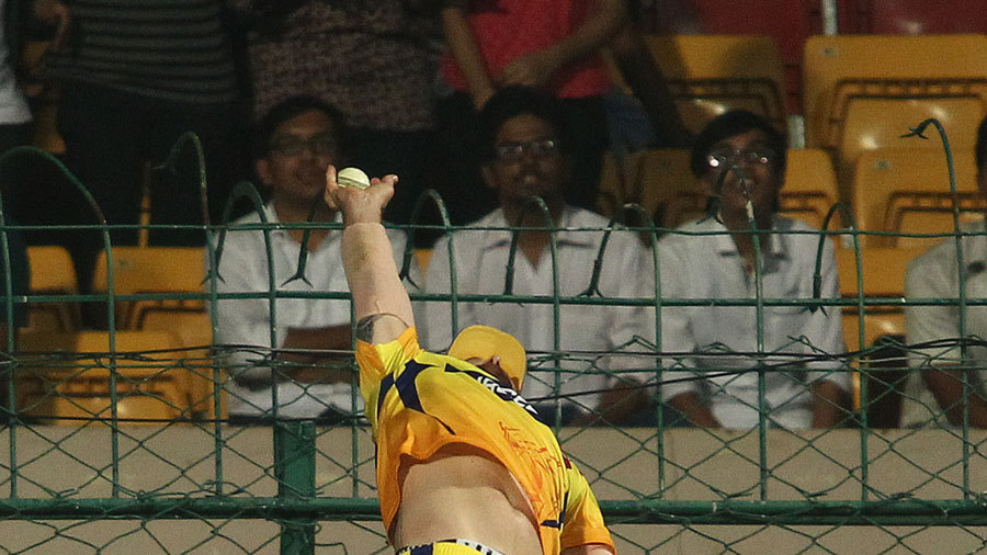 Part 2 - Brendon McCullum at full stretch, arching backwards as he catches the ball