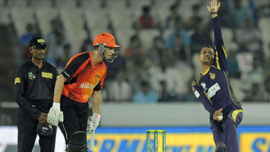 Sunil Narine in his delivery stride