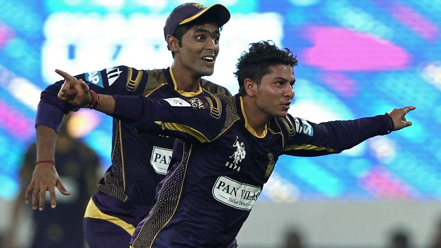 Kuldeep Yadav celebrates after taking a wicket