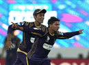 Kuldeep Yadav celebrates after taking a wicket, Kolkata Knight Riders v Perth Scorchers, CLT20, Group A, Hyderabad, September 24, 2014