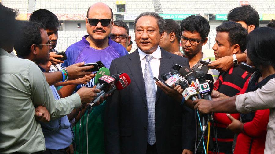 BCB president Nazmul Hassan addresses the media
