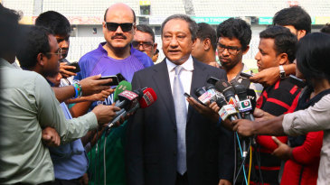 BCB president Nazmul Hassan addresses the media