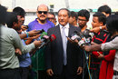 BCB president Nazmul Hassan addresses the media, Dhaka, September 25, 2014