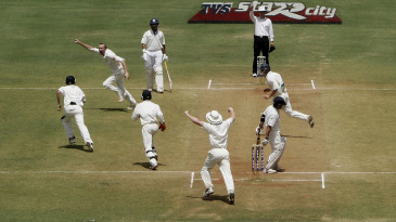 Sachin Tendulkar is bowled by Shaun Udal