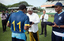 Chamika Karunaratne, the Sri Lanka U-19 captain, receives his cap from Arjuna Ranatunga, Sri Lanka U-19 v Australia U-19, 1st Youth ODI, Colombo, September 25, 2014