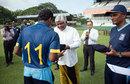 Chamika Karunaratne, the Sri Lanka U-19 captain, receives his cap from Arjuna Ranatunga, Sri Lanka U-19 v Australia U-19, 1st Youth ODI, Colombo, September 25, 2014
