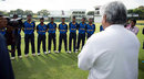 Arjuna Ranatunga speaks to the Sri Lanka U-19 players ahead of the game, Sri Lanka U-19 v Australia U-19, 1st Youth ODI, Colombo, September 25, 2014