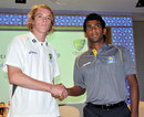Patrick McKenna and Chamika Karunaratne, the captains of the Australia and Sri Lanka U-19 teams, shake hands, Colombo, September 24, 2014