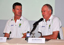 Graeme Hick and Greg Chappell address the media ahead of the U-19 series, Colombo, September 24, 2014